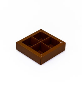 Brown square window box with interior for 4 chocolates