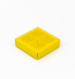 Boîte jaune carré avec interiéur pour 4 pralines