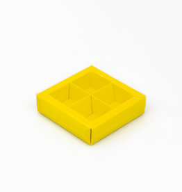 Yellow square window box with interior for 4 chocolates