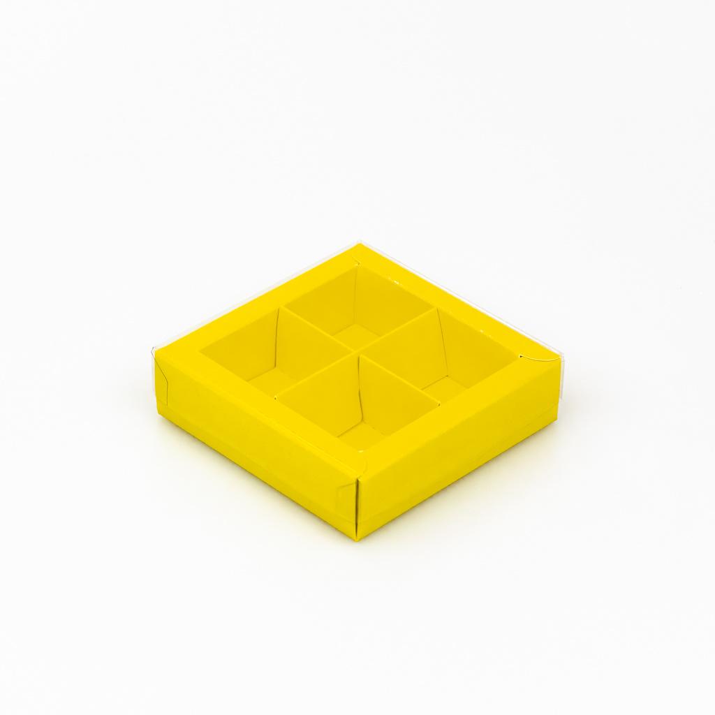 Gelb Quadrat Klarsichtschachtel für 4 Pralinen - 75*75*25 mm - 30 Stück