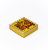 Boîte or carré avec interiéur pour 4 pralines - 75*75*25 mm - 30 pièces