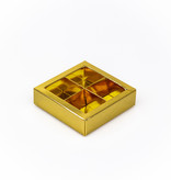 Gold Quadrat Klarsichtschachtel für 4 Pralinen - 75*75*25 mm - 30 Stück
