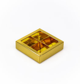 Gold square window box with interior for 4 chocolates