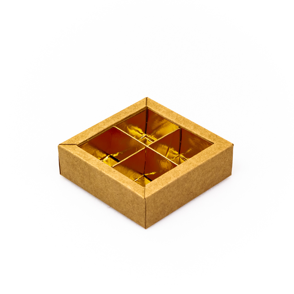 Kraft square window box with interior for 4 chocolates - 75*75*30 mm - 30 pieces