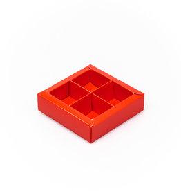 Caja cuadrado rojo con interior por 4 bombones
