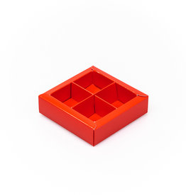 Red square window box with interior for 4 chocolates