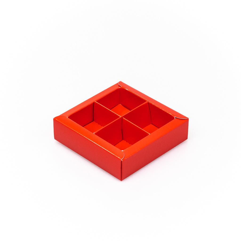 Rot Quadrat Klarsichtschachtel für 4 Pralinen - 75*75*25 mm - 30 Stück