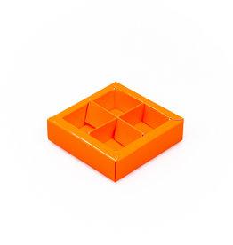 Boîte orange carré avec interiéur pour 4 pralines