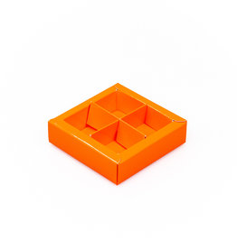 Orange square window box with interior for 4 chocolates