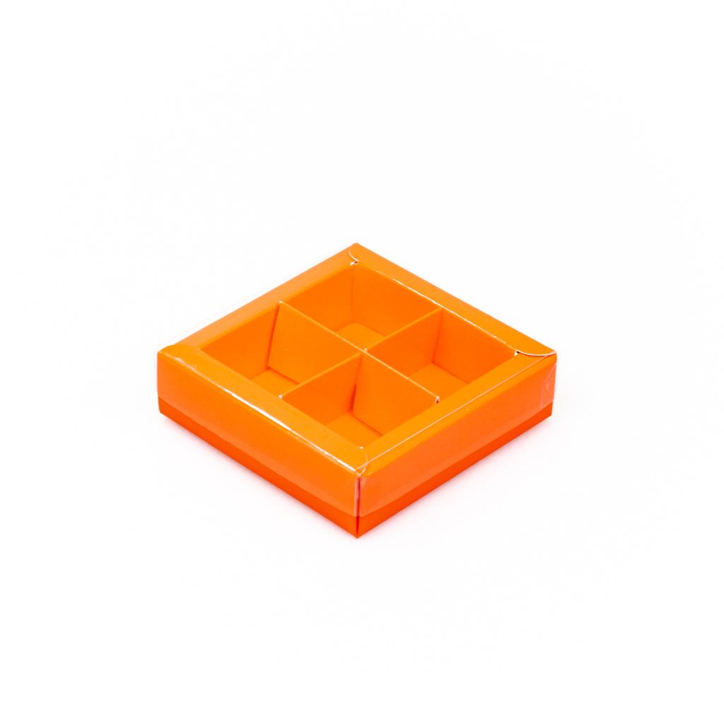 Orange square window box with interior for 4 chocolates - 75*75*25 mm - 30 pieces
