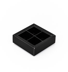 Black square window box with interior for 4 chocolates