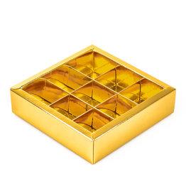 Gold Quadrat Klarsichtschachtel für 9 Pralinen