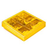 Gold square window box with interior for 9 chocolates - 115*115*25mm - 40 pieces