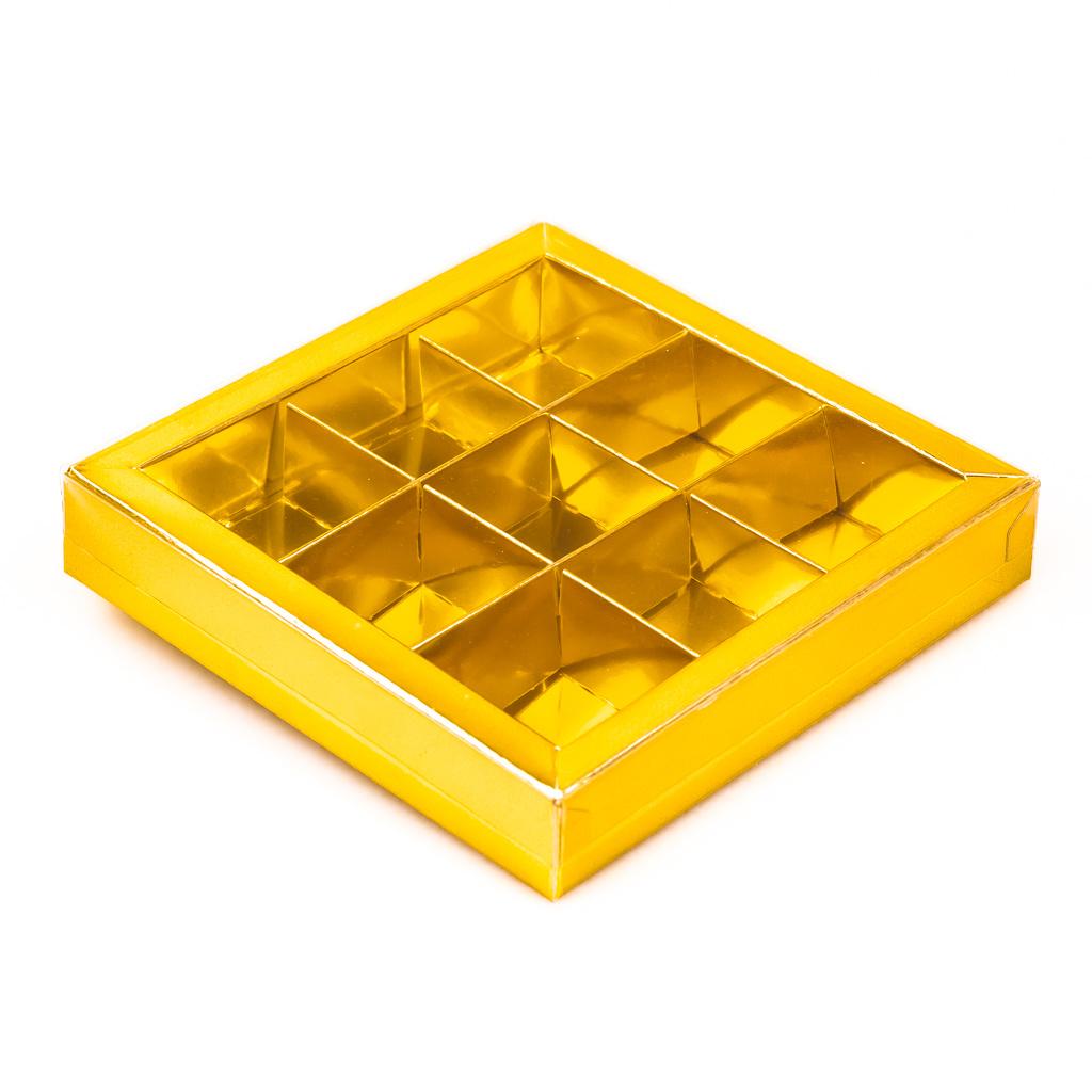 Gold Quadrat Klarsichtschachtel für 9 Pralinen - 115*115*25 mm - 40 Stück