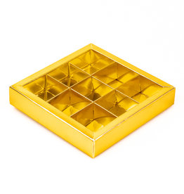 Gold square window box with interior for 9 chocolates
