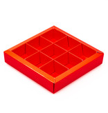 Vierkant vensterdoosje rood met vakverdeling voor 9 bonbons - 115*115*25 mm - 40 stuks