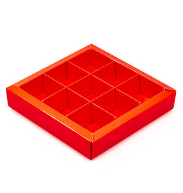 Red square window box with interior for 9 chocolates