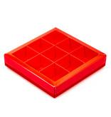 Boîte rouge carré avec interiéur pour 9 pralines - 115*115*25mm - 40 pièces