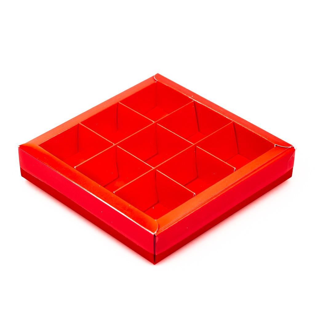 Rot Quadrat Klarsichtschachtel für 9 Pralinen - 115*115*25 mm - 40 Stück