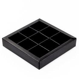 Black square window box with interior for 9 chocolates