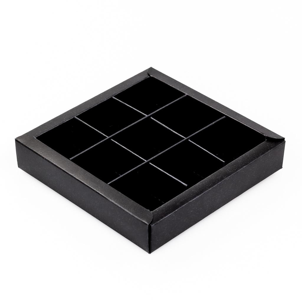 Boîte noir carré avec interiéur pour 9 pralines - 115*115*25mm - 40 pièces