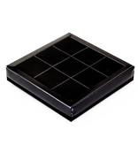 Schwarzen Quadrat Klarsichtschachtel für 9 Pralinen - 115*115*25 mm - 40 Stück