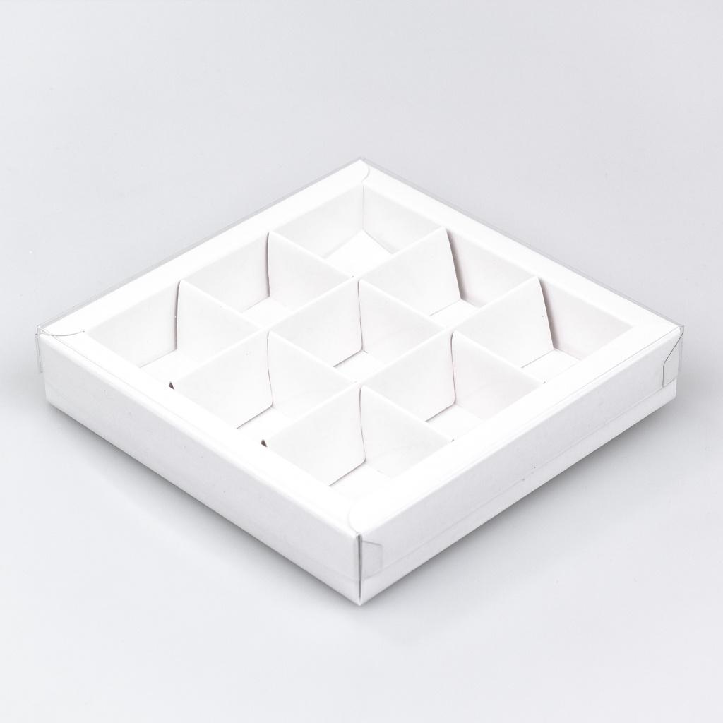 Weissen Quadrat Klarsichtschachtel für 9 Pralinen - 115*115*25 mm - 40 Stück