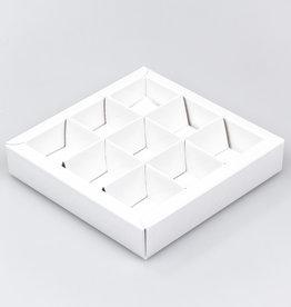 White square window box with interior for 9 chocolates