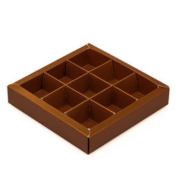 Brown square window box with interior for 9 chocolates
