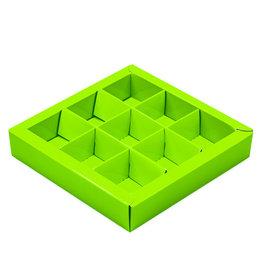 Boîte citron vert carré avec interiéur pour 9 pralines