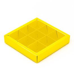 Boîte jaune carré avec interiéur pour 9 pralines