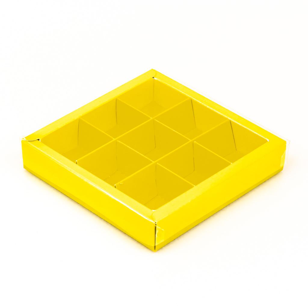 Gelbe Quadrat Klarsichtschachtel für 9 Pralinen - 115*115*25 mm - 40 Stück