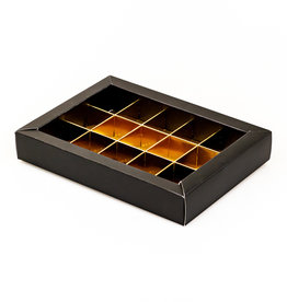 Black window box with interior for 15 chocolates