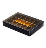Schwarz Klarsichtschachtel für 15 Pralinen - 175*120*33mm - 50 Stück