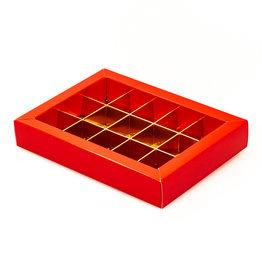 Boîte rouge avec interiéur pour 15 pralines