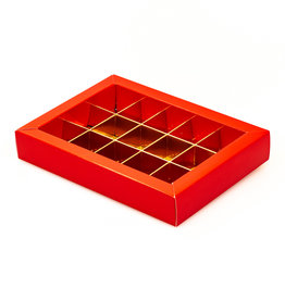 Red window box with interior for 15 chocolates
