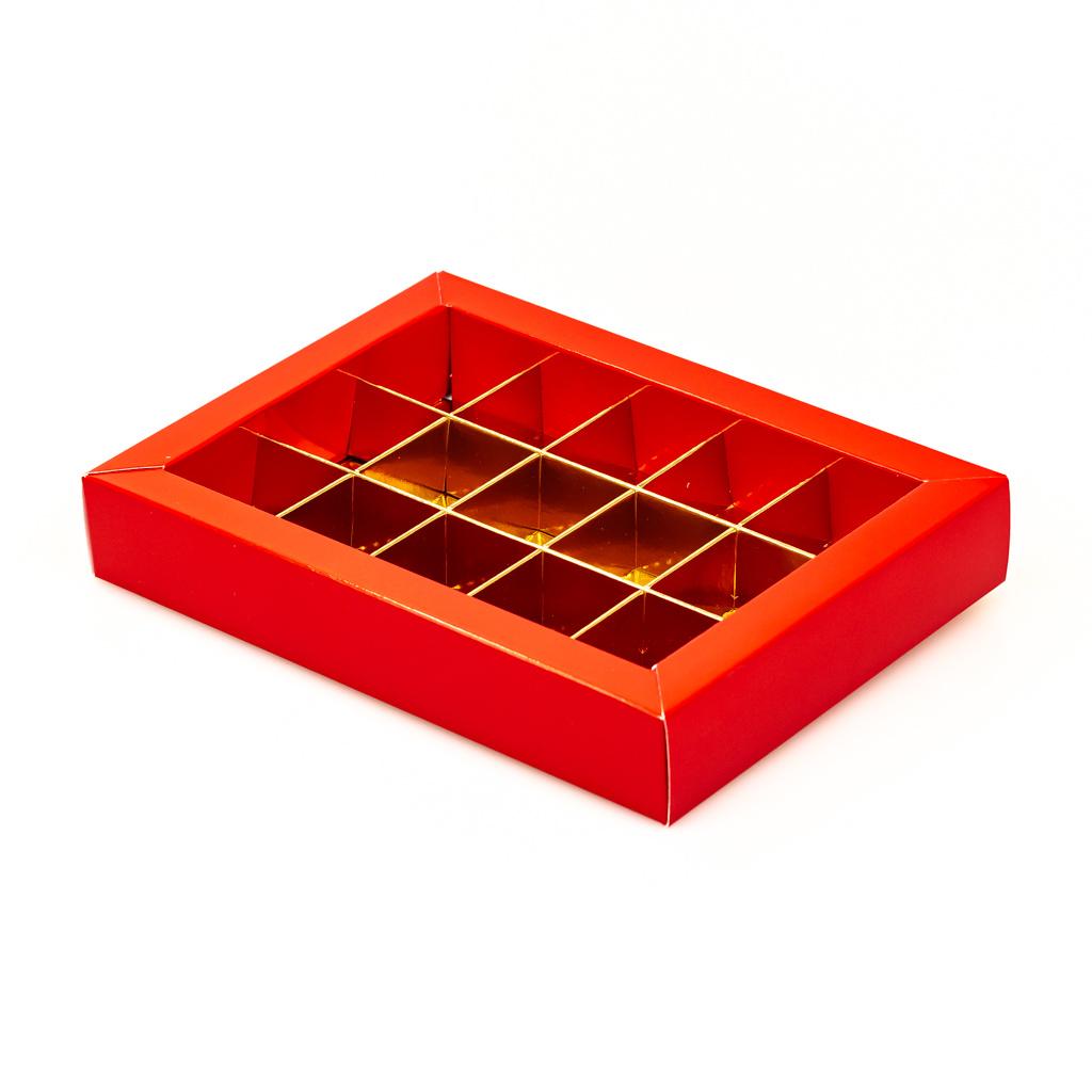 Rot Klarsichtschachtel für 15 Pralinen - 175*120*33mm - 50 Stück