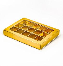 Golden Klarsichtschachtel für 15 Pralinen mit Sleeve