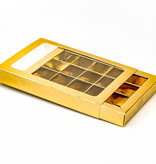 Gold window box with interior for 15 chocolates - 175*120*27mm - 50 pieces