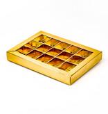 Boîte or avec interiéur pour 15 pralines - 175*120*27mm - 50 pièces