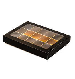 Black window box with interior for 15 chocolates with sleeve