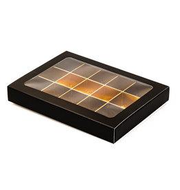 Boîte noir avec interiéur pour 15 pralines avec