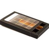 Boîte noir avec interiéur pour 15 pralines - 175*120*27mm - 50 pièces