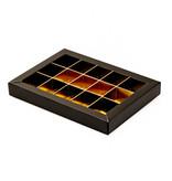 Schwarz Klarsichtschachtel für 15 Pralinen - 175*120*27mm - 50 Stück