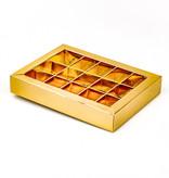 Gold Klarsichtschachtel für 15 Pralinen - 175*120*33 mm - 50 Stück