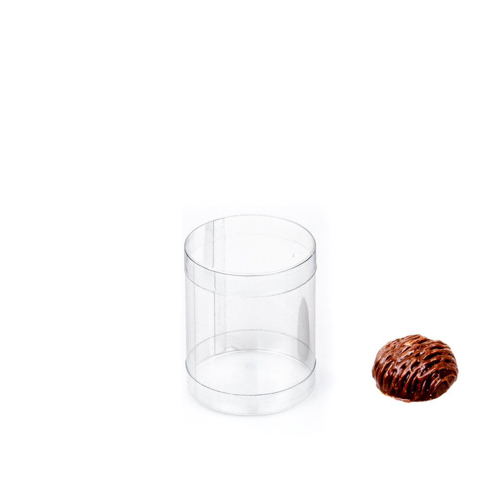 Transparant PVC round boxes   - ø 5 cm - 6 cm  - 100 pieces