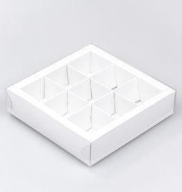 Weiss Quadrat Klarsichtschachtel für 9 Pralinen