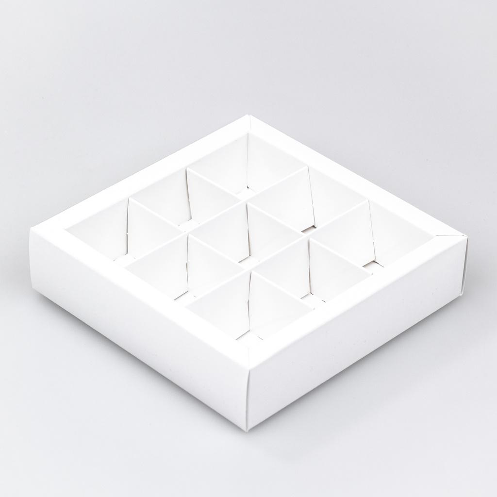Weiss Quadrat Klarsichtschachtel für 9 Pralinen - 115*115*33 mm - 30 Stück