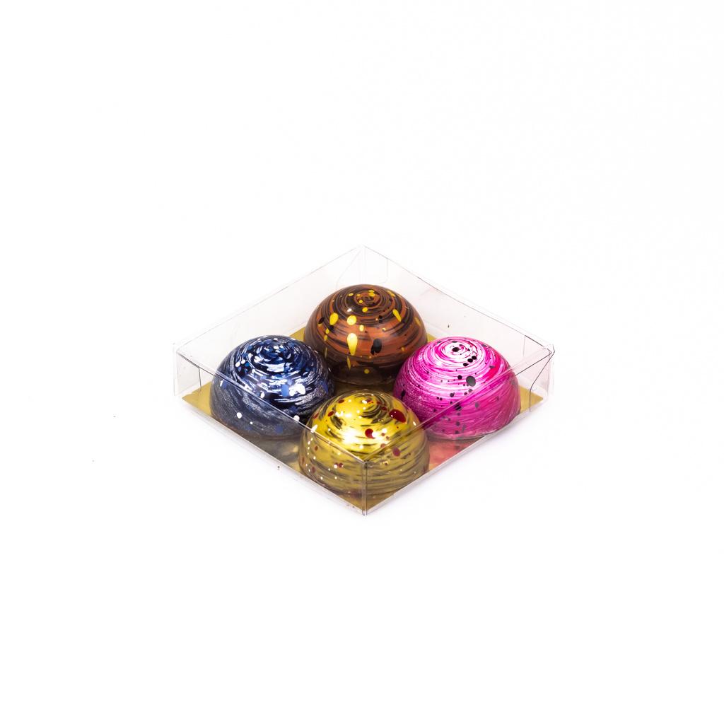 Transparanten Schachtel mit Goldkarton - 80*80*20mm - 150 Stück