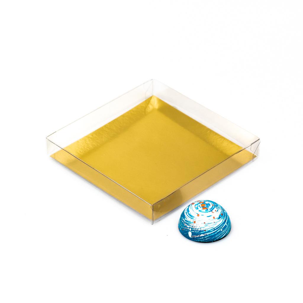 Boîte transparente avec carton doré - 120*120*20mm - 150 pièces